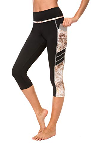 Munvot Damen Yoga Capri Leggings Übung Workout Pants Gym Tights - Schwarz - Mittel