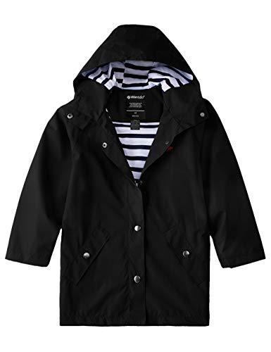 Wantdo Boys Girls Breathable Long Rain Jacket Lightweight Raincoat Black 8