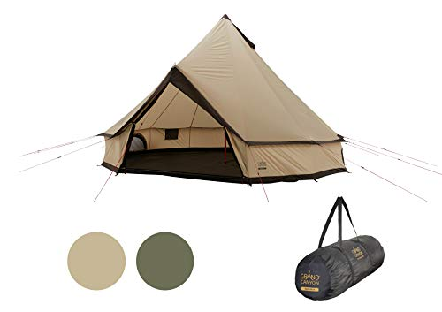 Grand Canyon INDIANA 10 - carpa redonda para 10 personas | carpa familiar, carpa para grupos, carpa piramidal, tipi | Mojave Desert (beige)