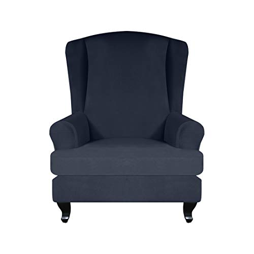Bverionant Wing Chair Cover Elastic Sofa Couch Slipcover Armchair Cover Machine Washable Furniture Protector Navy Blue