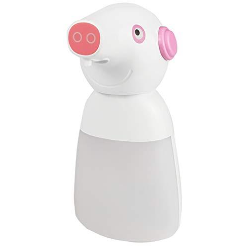 Tragbare Kinder Intelligent Sensor Seifenspender 330ML Tierform Cartoon Schwein Automatische Schaumhandwaschmaschine für Bad und Küche, für zu Hause,Weiß