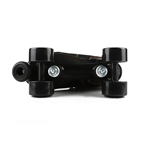 Classic Roller Skates Artistic, Quad Roller Skates, Roller Boots with PU Wheel Cowhide Upper Material, for Girls Boys, Men And Womens, Adult (Black),EUR:39/UK:6.5