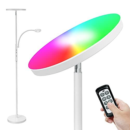 Lámpara de Pie Dimmer, RGB LED Lámpara de Suelo con control remoto y táctil, Luz de Pie con 2000LM de Luz Principal con Modo RGB + 400LM de luz lateral, para Sala de Estar, Dormitorio, Blanco, 175cm