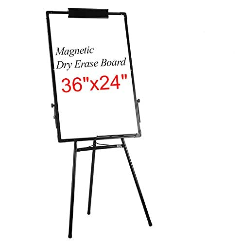 """Add Xin Dry Erase Easel Tripod Whiteboard, 24"""" x 36"""" Magnetic Flipchart Board, Height Adjustable Stand,3 Markers,1 Dry Eraser 6 for Free…"""