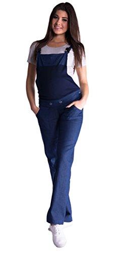 Mija - Denim Jeans Latzhose Umstandsjeans mit Bauchband 3018 (36, Dunkelblau Denim)