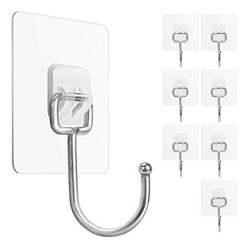 Large Adhesive Hooks 22Ib(Max), Waterproof and Rustproof Wall Hooks for Hanging Heavy Duty, Stainless Steel Towel and Coats Hooks to use Inside Kitchen, Bathroom, Home and Office, 8Pack