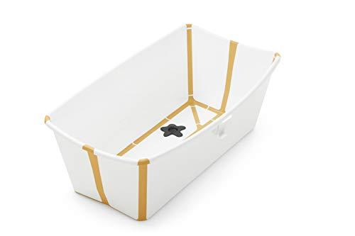 STOKKE® Flexi Bath®│Vasca pieghevole per il bagnetto dei bambini│Vaschetta portatile con base antiscivolo per bambini dai 0 mesi ai 4 anni│Colore: White Yellow