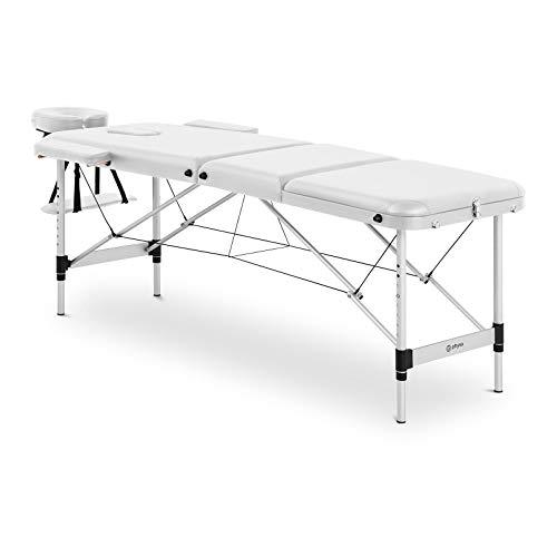physa Camilla De Masaje Plegable Maleta Para Estética BORDEAUX WHITE (Estructura de aluminio, Tapicería en PVC, Altura de reposo: 60-81 cm)