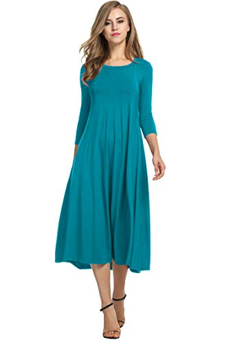 Hotouch Women 3/4 Sleeve Round Neck Summer Casual Flared Midi Dress (Jade Green XL)