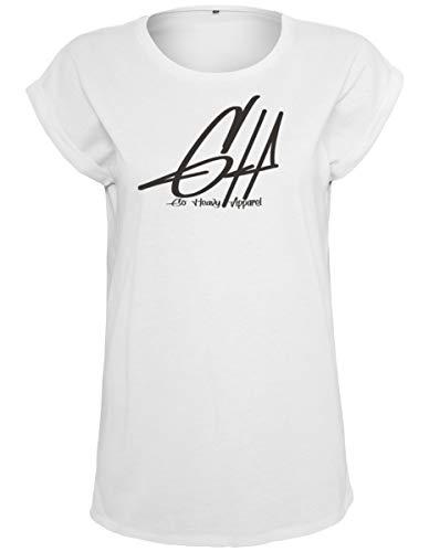 GO HEAVY - Camiseta de manga corta para mujer, diseño con texto en inglés, color blanco, XS