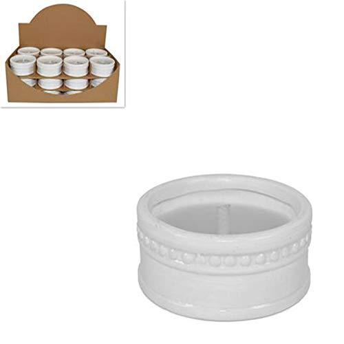 Vasetto Bianco in coccio Candela citronella per Esterno Vaso in Terracotta da Tavolo Fiaccola Diametro 9 cm Set da 24 Pezzi Giardinaggio antizanzare F