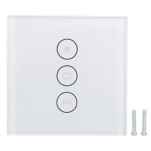Interruptor del obturador del rodillo, interruptor elegante material material de la pared de la PC del interruptor del tacto de Wifi para el apartamento(blanco)