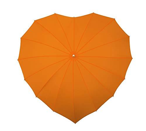 VON LILIENFELD Regenschirm Damen Sonnenschirm Brautschirm Hochzeitsschirm Herz orange