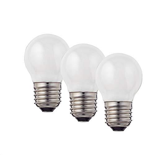 Hellum Bombilla LED con filamento LED, casquillo E27, luz blanca cálida, 2700 K, 2 W, mate, 3 unidades, 209204