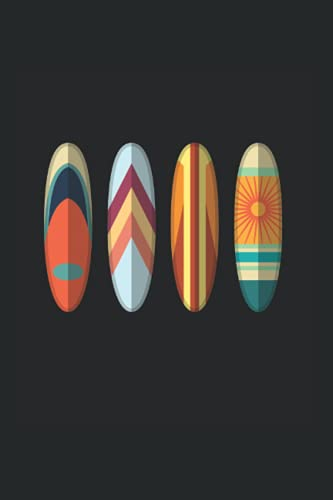 Notebook: Retro Surfboard Vintage Surfing Art Beach Surfer Notebook 6x9 Inches 120 dotted pages for notes, drawings, formulas | Organizer writing book planner diary