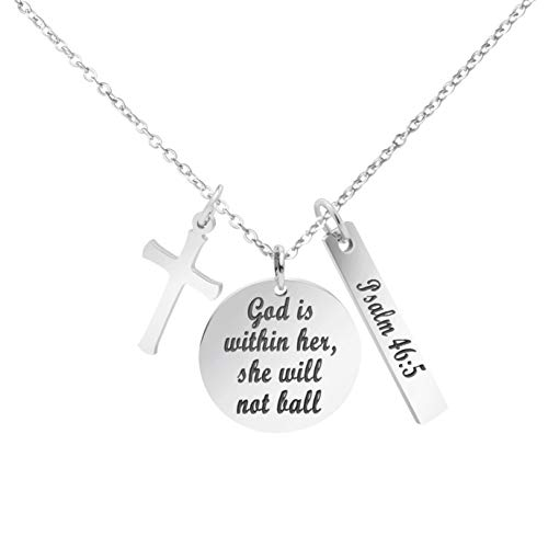 MEMGIFT Christian Religious Necklace Stainless Steel Round Pendant Engraved Bible Verse God is Within Her She Will not Fall