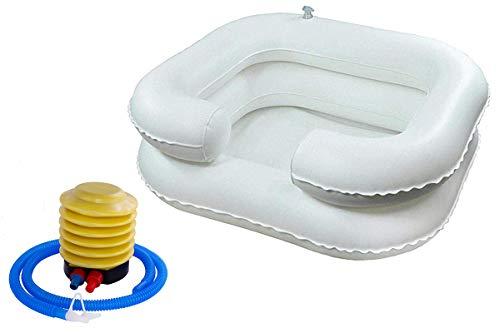 Cuenco portátil para champú con bomba de pie – Lavabo inflable de lavado de cabello para personas con discapacidad y cuidado con diseño de cámara dual con soporte de cuello integrado