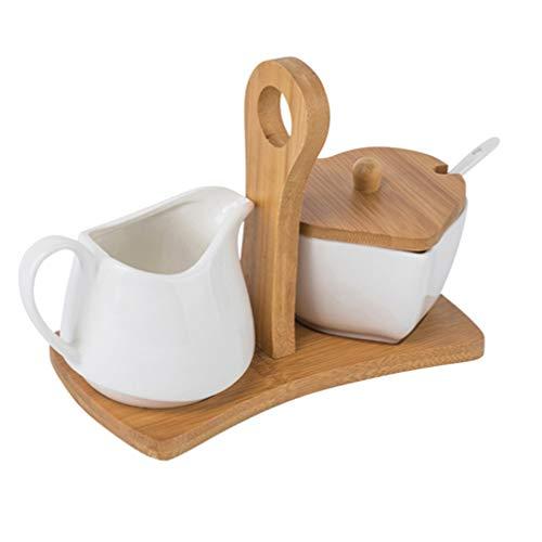 DOITOOL Keramische Suiker en Creamer Set Cream Pitcher Suiker Bowl Zoetstof Packet Houder Keramische Thee/Koffie Set met Houten Stand Lepel