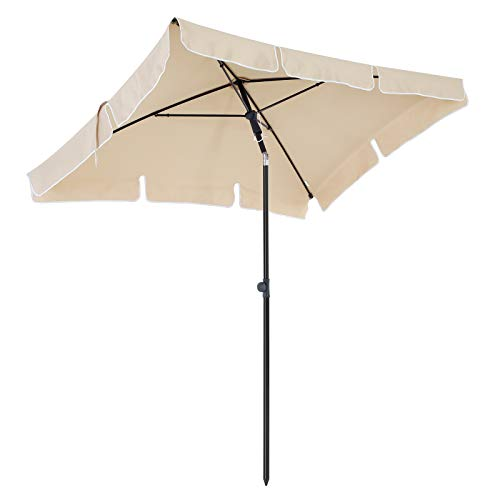 SONGMICS 200 × 125 cm Sonnenschirm, Marktschirm, UV-Schutz UPF 50+, Gartenschirm, Terrassenschirm, Sonnenschutz, mit Tragetasche, ohne Ständer, für Garten, Balkon und Terrasse, Beige GPU25BE