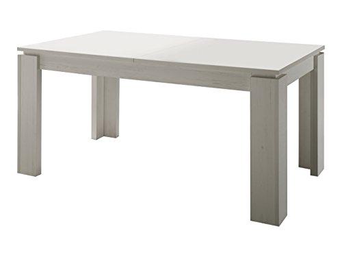 trendteam smart living Esszimmer Küchentisch, Esstisch Tisch Universal, 160 x 77 x 90 cm in Pinie Weiß mit Ausziehfunktion