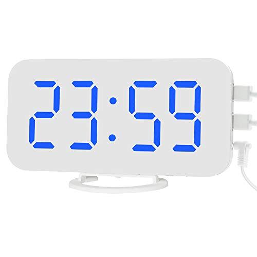 DIYARTS Spiegel Wecker Digital Dual USB Ausgang Lade Induktion Dimmen Snooze Clock für Büro Schlafzimmer (White+Blue)
