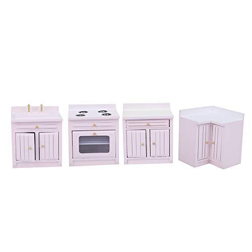 Mini casa de muñecas, 1:12 muebles de casa de muñecas en miniatura, gabinete de cocina rosa, juego de tres piezas, modelo de artesanía de madera, adorno de decoración DIY(Kitchen unit)