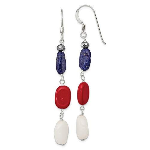 Broche de plata de ley de cristal rojo Coral blanco pendientes Jade Lapis - JewelryWeb
