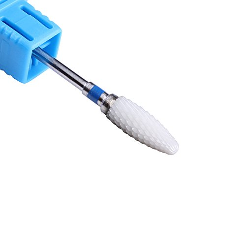MZCMSL Medium Grit Ceramic Drill Bit,White Ceramic Cone File Bit, 3/32 Flame Style Gel Nail Polish Removing Nail Art Tool