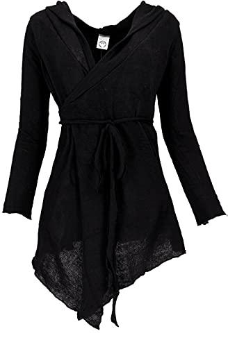 GURU SHOP Pixi - Cárdigan envolvente de algodón para mujer, color gris, talla 38, Negro , 40