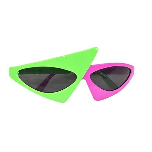 TYY-guang 1pc Asymmetric 80 Sonnenbrille Grün und rosa Sonnenbrille Partei-Bevorzugungen Neuheit Shades Rockstar Kostüm Gläser Spielzeug Lustige Brillen Accessoires für Kinder & Erwachsene