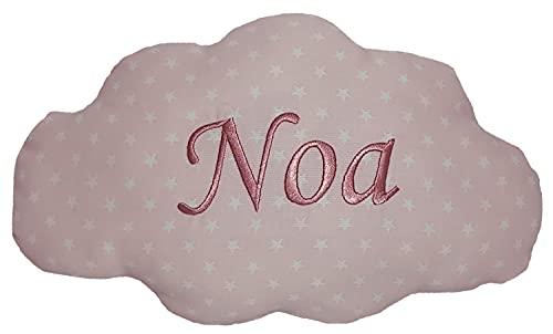 Cojín para bebés personalizado con su nombre, bordado a máquina en forma de nube. Tamaño pequeño 30x20cm y peso100gr.