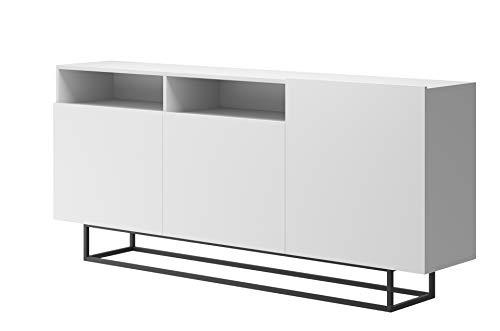 Furniture24 Kommode Enjoy EK180, Schrank, Wohnzimmerschrank, Anrichte, Mehrzweckschrank, Sideboard mit 3 Türen (Weiß)