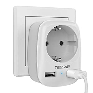 TESSAN Enchufe USB Pared, Ladron Enchufes (4000W) con Doble USB y 1 Toma de CA, Enchufe Multiple Cargador USB Pared Adaptador Enchufe con USB España, Ladron USB Carga para Movil iPad-Blanco
