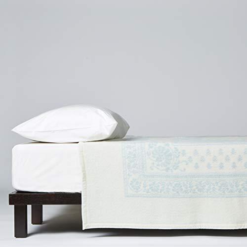 LANEROSSI Manta de cama individual Provenzal, 100% lana virgen, 210 x 180 cm, blanco/agua