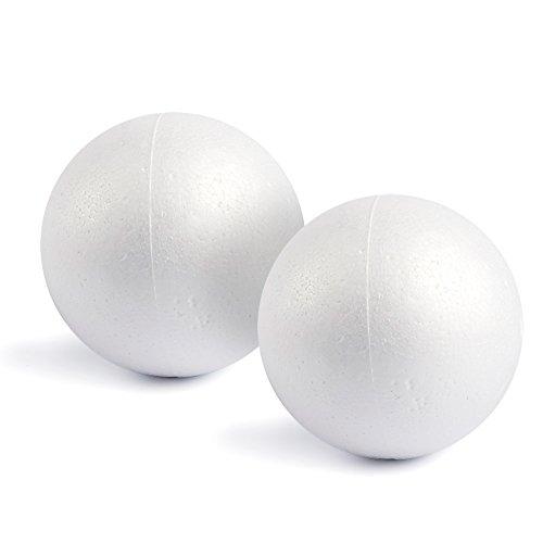 Grandes Boules Rondes Lisses en Mousse de polystyrène, Lot de 2 - Blanc, 15 cm de diamètre