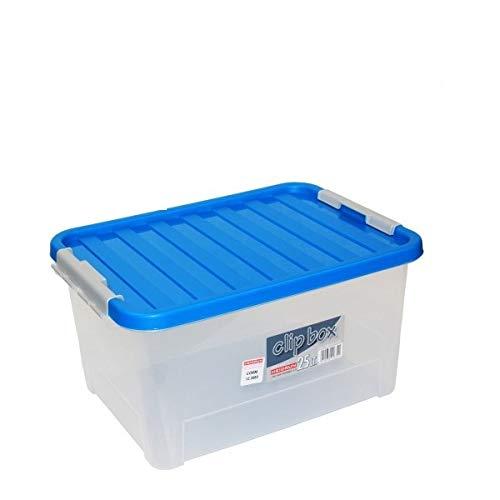 Heidrun 6 Stück Clipbox mit Deckel Verschlüssen - 25 Liter, 44 x 32 x 23 cm - transparent mit farbigen Deckel