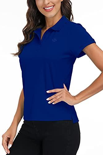 AjezMax Polo de manga corta para mujer, de algodón, transpirable, para fitness, deporte, de verano Azul 02. XS