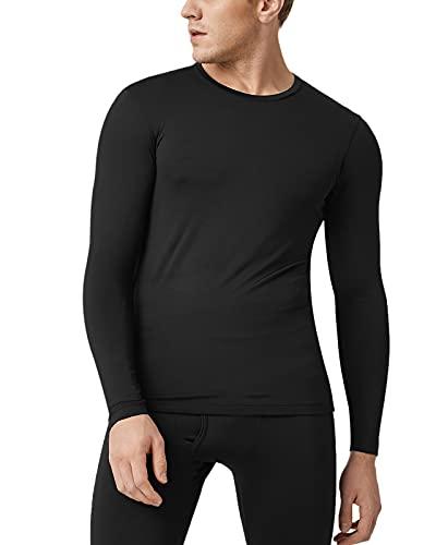 LAPASA Camiseta Térmica, Pack de 2 Manga Larga para Hombre. -Brushed Back Fabric Technique- M09 (M, Negro)