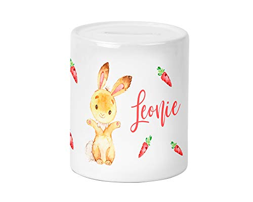 Yuweli Kleiner Hase Spardose für Kinder Jungen und Mädchen mit Namen personalisiert zur Einschulung Taufe Geburtstag Geburt Sparschwein Geldgeschenk Kinderspardose
