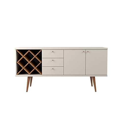 Manhattan Comfort Utopia Sideboard Buffet Stand, Off Off White and Maple Cream