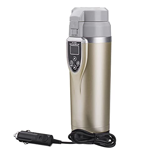 Yi-xir Elegant appearance 12-24V 350ml Sound Vehicle Heating Cup Adjustable Temperature Car Boiling Mug Galvanic Kettle Boiling Vehicle Thermos Perfect Design (Color : Champagne)
