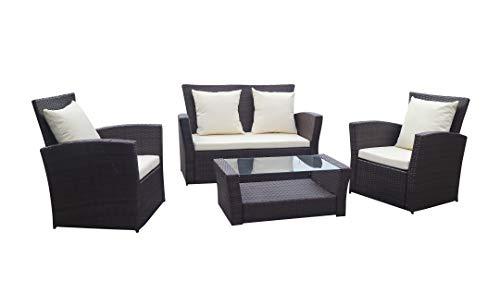 Home Essential 4 Pcs Rattan Garden Furniture Set - 4 Pieces Wicker Furniture Set (Dark Brown)