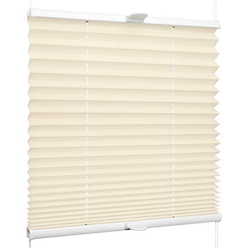SchattenFreude Plissee nach Maß für Fenster & Tür   Zum Anschrauben in der Glasleiste   Creme, Breite: 200-500mm x Höhe: 300-1000mm
