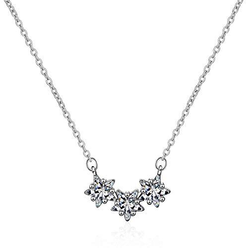 Colgante de collar ZIYUYANG, Collares pendientes femeninos de estrella de circonita cúbica brillante de plata de ley 925