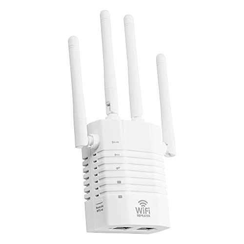 Houshome Amplificador de sinal WiFi 1200Mbps repetidor WiFi 2.4GHz 5GHz Dual Frequency Wireless Signal Booster com 4 antenas White US PLug