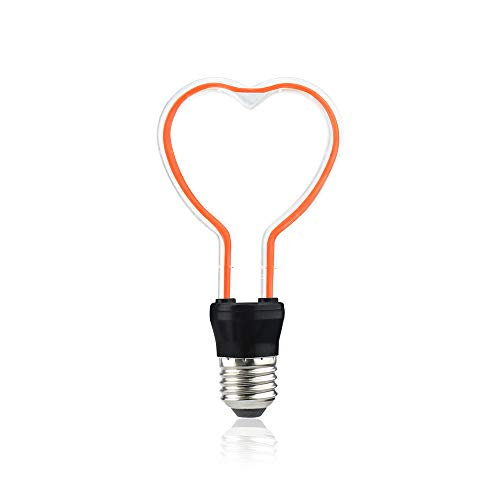 Bonlux Herzform Dekorative E27 LED Rot 3.3W 220V Nachtlicht Glühbirne Urlaub Lampe 180 lumen 360° Herz Leuchtmittel für den Kindergarten Schlafzimmer Geburtstag Party Bar (1 Stück Nicht Dimmbar)
