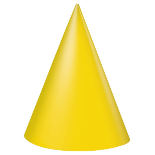 Yellow Party Hats, 8ct