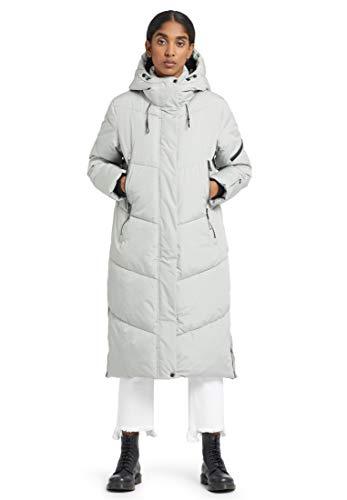 khujo Abrigo de mujer Sonje, largo hasta la rodilla, abrigo de invierno con capucha y cremallera beige L