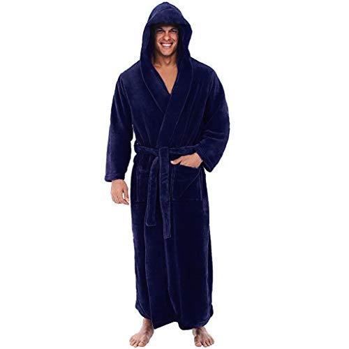 HDUFGJ Herren Bademantel mit Kapuze Langarm Zuhause Nachtwäsche V Kragen mit Taschen, Kapuze und Bindegürtel XXL(Dunkel blau)