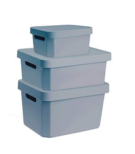 YDORO Cajas de almacenaje con tapa Juego de 3 | Contenedores de plástico azul en 3 tamaños diferentes 4,5L, 11L, 17L |Cajas de almacenaje de plástico apilables